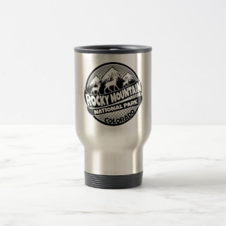 Rocky Mountain Park Colorado black logo steel mug