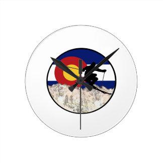 Rocky Mountain Pass Round Clock