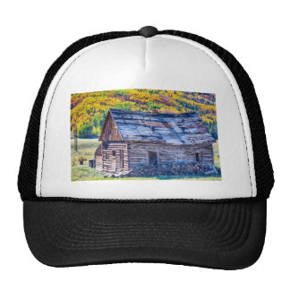 Rocky Mountain Rural Rustic Cabin Autumn View Hats