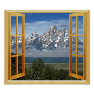 Rocky Mountain Snow Top Faux Window View Poster