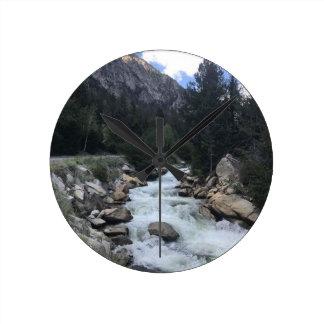 Rocky Mountain Stream Round Clock