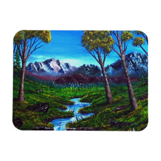 Rocky Mountain Stream Trees Vista Rectangular Photo Magnet