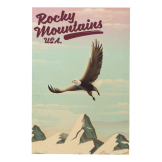 Rocky Mountains USA Vintage travel poster