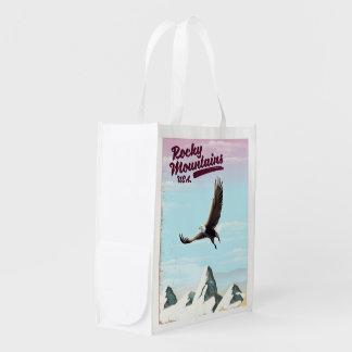 Rocky Mountains USA Vintage travel poster Reusable Grocery Bag