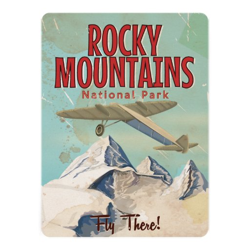 Rocky Mountains vintage Travel poster Custom Invitation