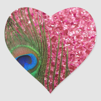 Rocky Pink Peacock Feather Heart Sticker