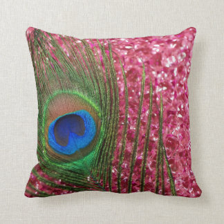 Rocky Pink Peacock Feather Still Life Throw Pillow