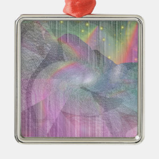 Rocky Rainbows Silver-Colored Square Decoration
