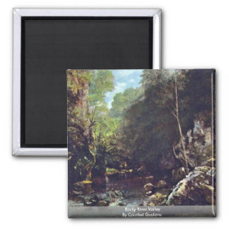 Rocky River Valley By Courbet Gustave Magnet