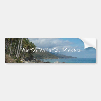 Rocky Shore with Palm Trees; Puerto Vallarta, MX Bumper Sticker