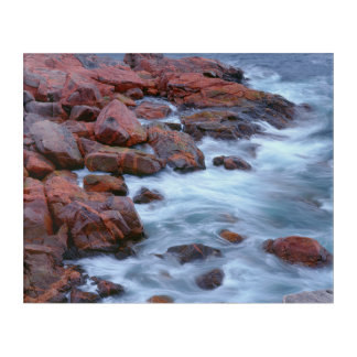 Rocky shoreline with water, Canada Acrylic Print