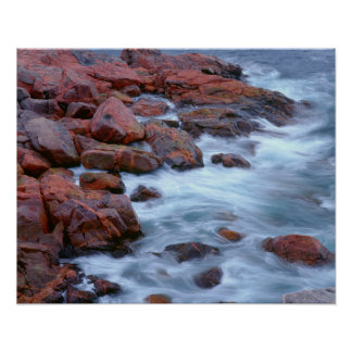 Rocky shoreline with water, Canada Poster