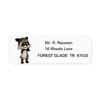 Rocky the Cute Cartoon Raccoon Return Address Label