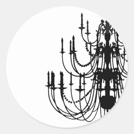 Rococo Chandelier (Black & White) Sticker