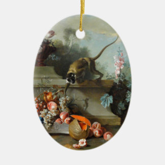 Rococo Painting for The Year of the Monkey Ceramic Oval Decoration