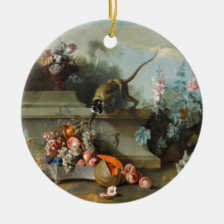 Rococo Painting for The Year of the Monkey Round Ceramic Decoration