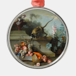 Rococo Painting for The Year of the Monkey Silver-Colored Round Decoration