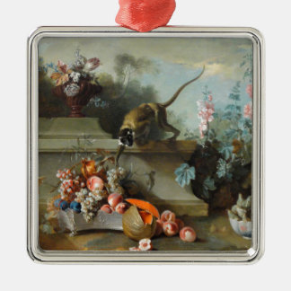 Rococo Painting for The Year of the Monkey Silver-Colored Square Decoration