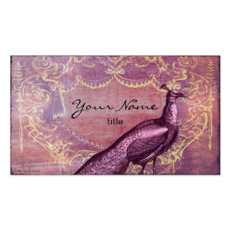 Rococo Peacock in Purple Business Cards