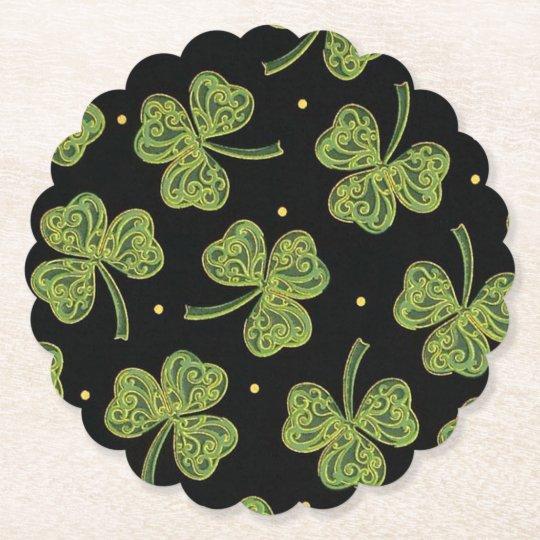 Rococo Shamrocks Paper Coaster