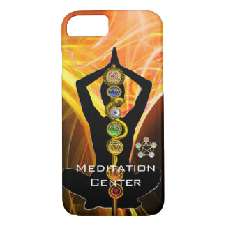 ROD ASCLEPIUS,7 CHAKRAS YOGA LOTUS POSE Yellow iPhone 8/7 Case