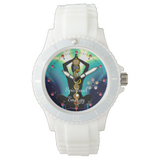 ROD OF ASCLEPIUS 7 CHAKRAS,YOGA LOTUS POSE Blue Watch