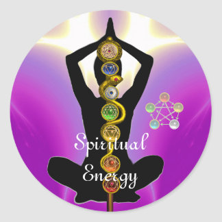 ROD OF ASCLEPIUS 7 CHAKRAS,YOGA LOTUS POSE Pink Classic Round Sticker