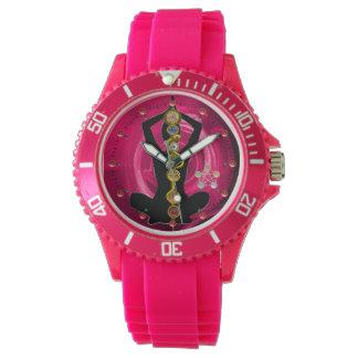 ROD OF ASCLEPIUS 7 CHAKRAS,YOGA LOTUS POSE Pink Watch
