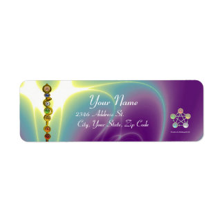 ROD OF ASCLEPIUS 7 CHAKRAS,YOGA ,SPIRITUAL ENERGY RETURN ADDRESS LABEL