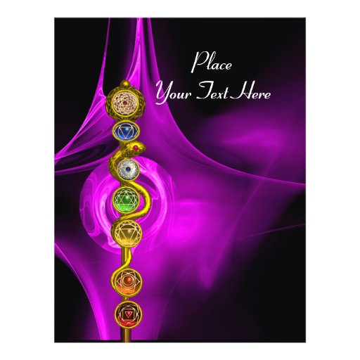 ROD OF ASCLEPIUS WITH 7 CHAKRAS ,SPIRITUAL ENERGY FLYER DESIGN