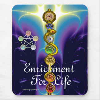 ROD OF ASCLEPIUS WITH 7 CHAKRAS ,SPIRITUAL ENERGY MOUSE PADS