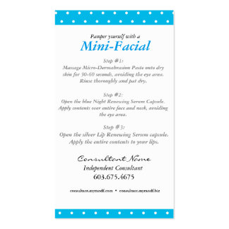 Rodan + Fields Mini Facial Instruction Card Pack Of Standard Business Cards