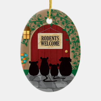 Rodents Welcome Ceramic Ornament