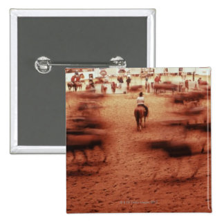 Rodeo arena,blurred motion,Texas, USA 15 Cm Square Badge