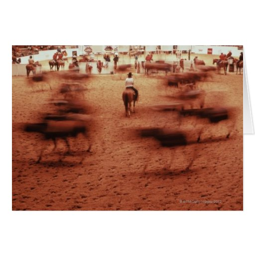 Rodeo arena,blurred motion,Texas, USA Greeting Cards