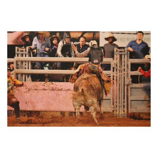 RODEO BULL AND RIDER QUEENSLAND AUSTRALIA WOOD WALL ART