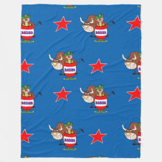 Rodeo Clown and Bull Fleece Blanket