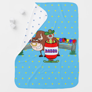 Rodeo Clown With Bull Light Blue Baby Blanket
