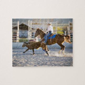 Rodeo cowboy calf roping puzzle