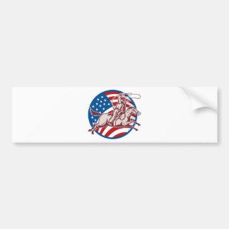 Rodeo cowboy riding horse lasso american flag bumper sticker
