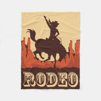 Rodeo Cowgirl and Horse Fleece Blanket