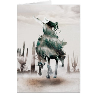 Rodeo - double exposure  - cowboy - rodeo cowboy card