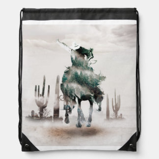 Rodeo - double exposure  - cowboy - rodeo cowboy drawstring bag