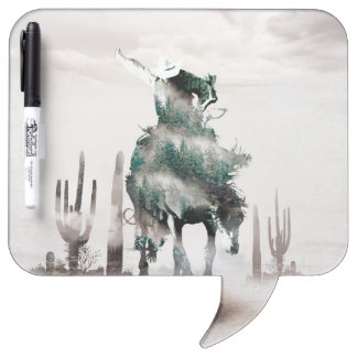 Rodeo - double exposure  - cowboy - rodeo cowboy dry erase board