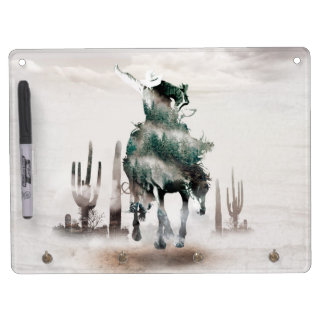 Rodeo - double exposure  - cowboy - rodeo cowboy dry erase board with key ring holder