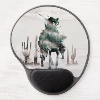 Rodeo - double exposure  - cowboy - rodeo cowboy gel mouse pad