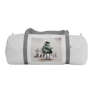 Rodeo - double exposure  - cowboy - rodeo cowboy gym bag