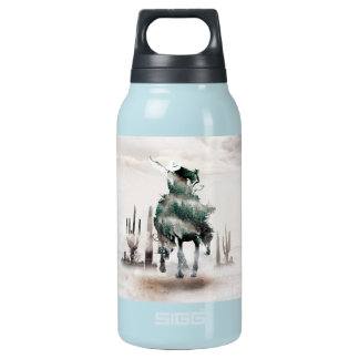 Rodeo - double exposure  - cowboy - rodeo cowboy insulated water bottle