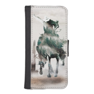 Rodeo - double exposure  - cowboy - rodeo cowboy iPhone SE/5/5s wallet case