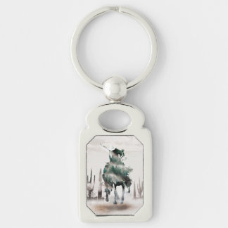 Rodeo - double exposure  - cowboy - rodeo cowboy key ring